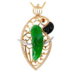 Certified Type A Jadeite Jade and Diamond Parrot Pendant, Vivid Green Color
