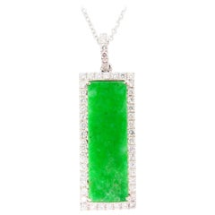 Certified Type a Jadeite Jade and Diamond Pendant Necklace, Apple Green Color