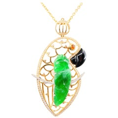 Certified Type A Jadeite Jade and Diamond Pendant, Vivid Green Color