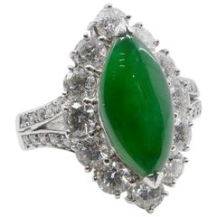 Certified Type A Jadeite Jade and Diamond Ring, Rare Imperial Green Color