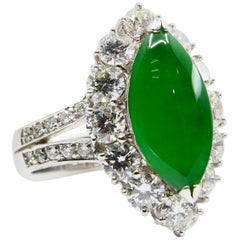 Certified Type A Jadeite Jade Diamond And Cocktail Ring, Imperial Green Color