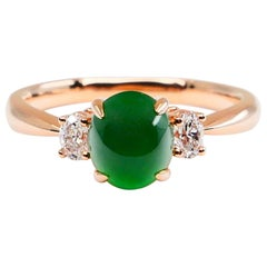 Certified Type A Jadeite Jade & Diamond Cocktail Ring, Best Imperial Green Color