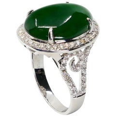 Certified Type A Jadeite Jade & Diamond Cocktail Ring, Intense Green Subtle Glow