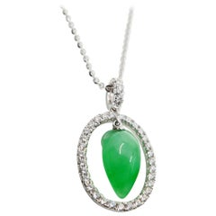 Certified Type A Jadeite Jade & Diamond Pendant, Apple Green Color, Translucent