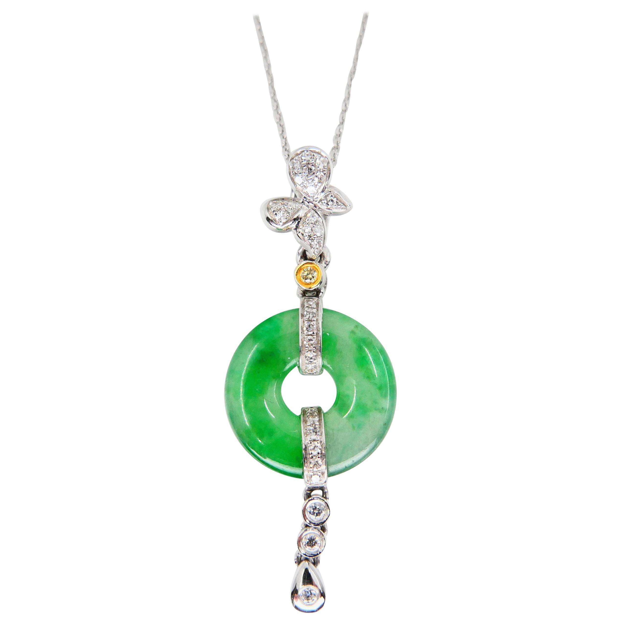 Certified Type A Jadeite Jade Diamond Pendant Drop Necklace, Apple Green Veins