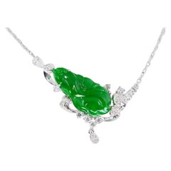 Certified Type A Jadeite Jade Diamond Pendant Drop Necklace, Imperial Green