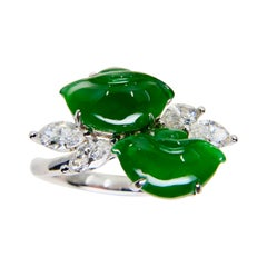 Certified Type A Jadeite Jade Ingot & Diamond Cocktail Ring, Imperial Green