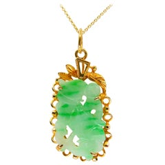 Certified Type A Jadeite Jade Pendant Drop Necklace, Apple Green Veins, N.O.S