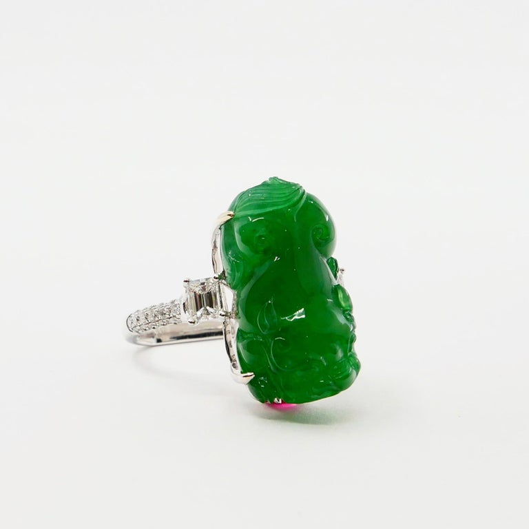 Emerald Cut Certified Type A Jadeite Jade Spinel and Diamond Ring, Super Vivid Green Color For Sale
