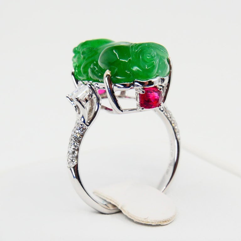 Certified Type A Jadeite Jade Spinel and Diamond Ring, Super Vivid Green Color For Sale 1