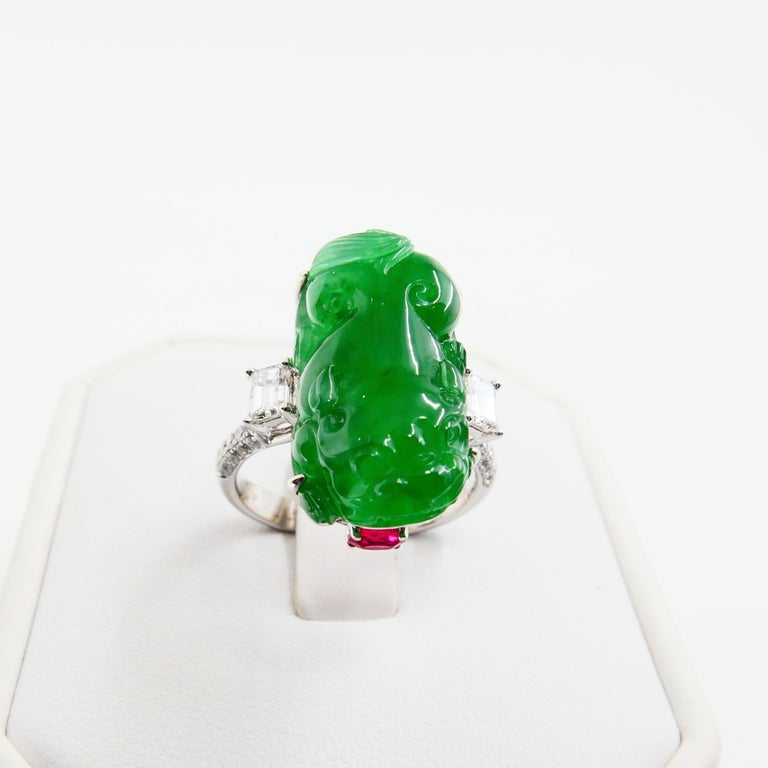 Certified Type A Jadeite Jade Spinel and Diamond Ring, Super Vivid Green Color For Sale 2