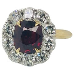 Certified Un-Heated 3.01 Carat Cushion Cut Ruby and Diamond Halo Cocktail Ring