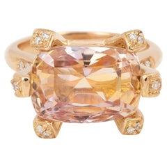 Certified Unheated 13 Carat Peach Sapphire Diamonds 18 Karat Gold Cocktail Ring