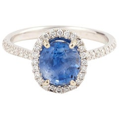 Certified Unheated 1.94 Carat Ceylon Sapphire Diamonds 18 Karat White Gold Ring