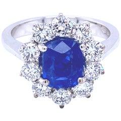 Certified Unheated 2.51 Carat Burma Sapphire Diamond Engagement Ring