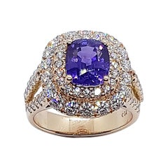 Certified Unheated 3 Cts Purple Sapphire with Diamond Ring Set in 18k Rose Gold