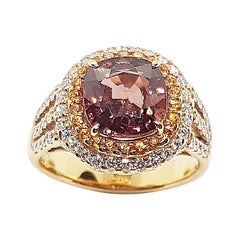 Certified Unheated 3cts Orangy Pink Sapphire, Diamond Ring in 18 Karat Rose Gold