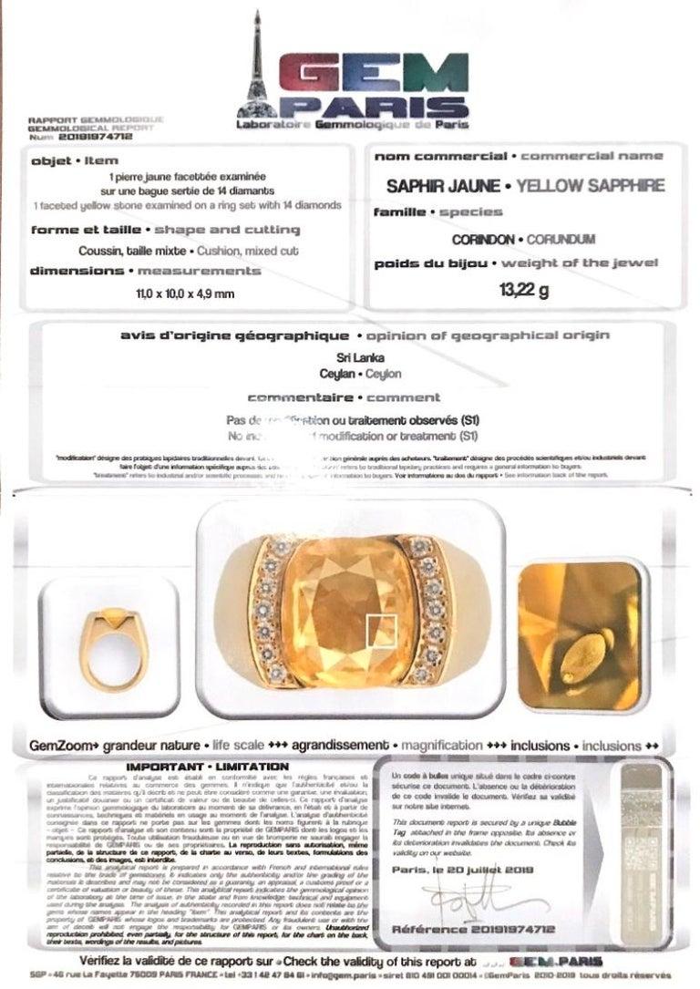 Retro Certified Unheated 4.50 Carat Yellow Sapphire Diamonds 18 Karat Gold Tank Ring For Sale
