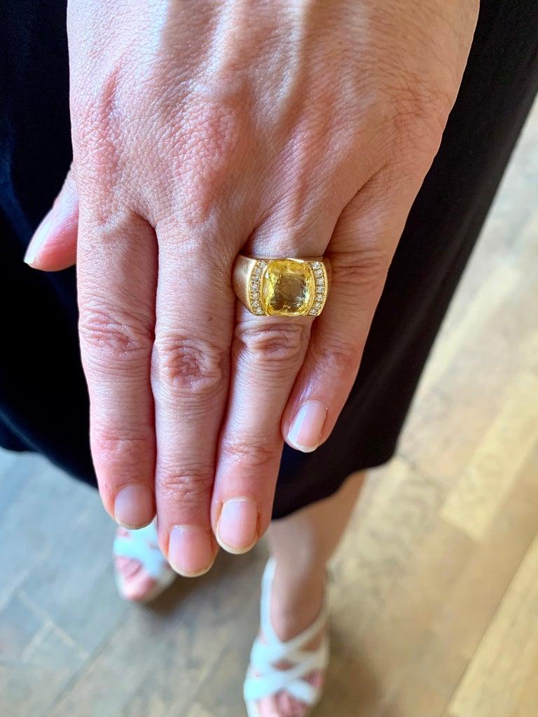 Cushion Cut Certified Unheated 4.50 Carat Yellow Sapphire Diamonds 18 Karat Gold Tank Ring For Sale