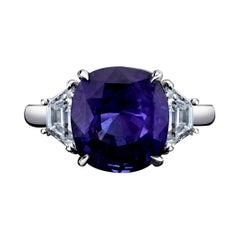 Certified Unheated 6.77ct Cushionviolet-Blue Sapphire & Diamond Ring