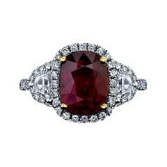 Certified Unheated Cushion 3.01ct Ruby & Diamond Ring