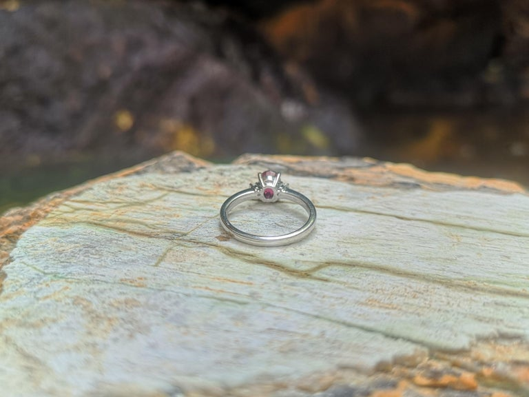 Certified Unheated Ruby with Diamond Ring Set in Platinum 950 Settings For Sale 4