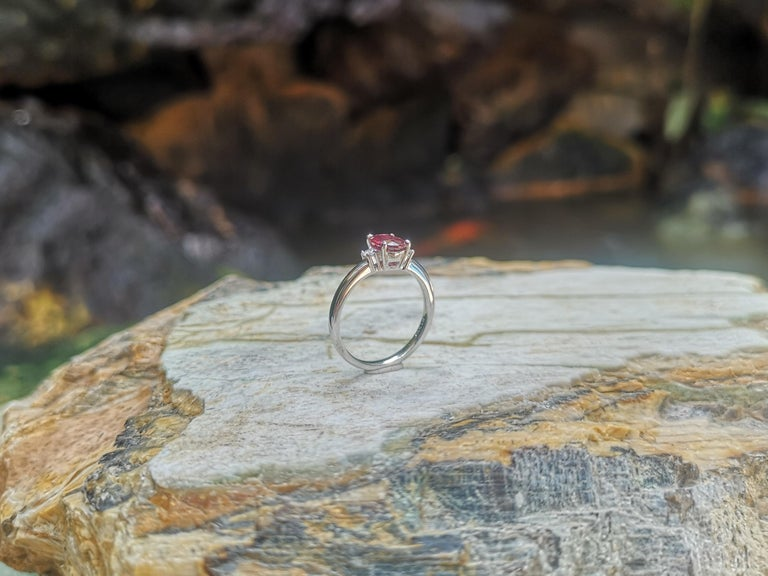 Certified Unheated Ruby with Diamond Ring Set in Platinum 950 Settings For Sale 7