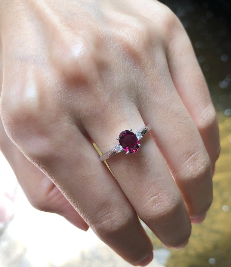 Ruby 0.97 carat with Diamond 0.08 carat Ring set in Platinum 950 Settings (GIT Certified, The Gemmological Testing Laboratory)  Width:  0.9 cm  Length:  0.8 cm Ring Size: 52 Total Weight: 4.15 grams  Ruby Width:  0.5 cm  Length:  0.8 cm
