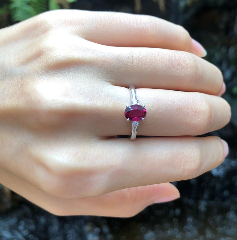 Oval Cut Certified Unheated Ruby with Diamond Ring Set in Platinum 950 Settings For Sale