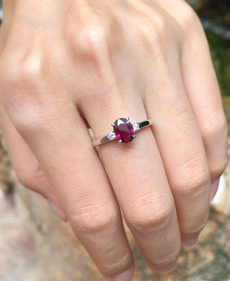 Certified Unheated Ruby with Diamond Ring Set in Platinum 950 Settings For Sale 1