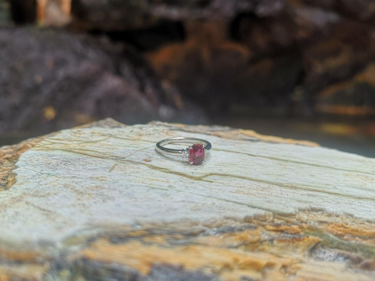 Certified Unheated Ruby with Diamond Ring Set in Platinum 950 Settings For Sale 3