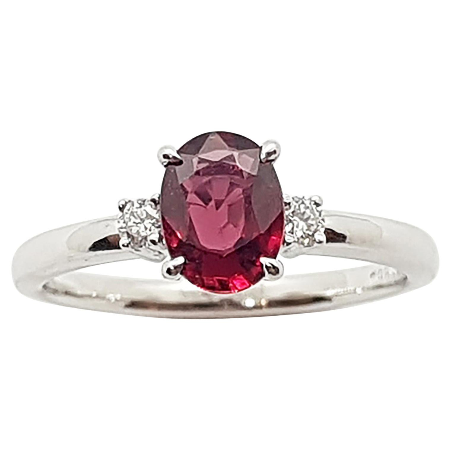 Certified Unheated Ruby with Diamond Ring Set in Platinum 950 Settings