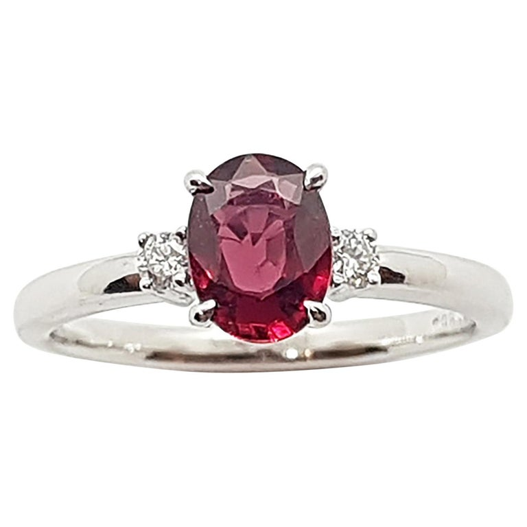 Certified Unheated Ruby with Diamond Ring Set in Platinum 950 Settings For Sale