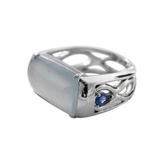 Ice Jade Ring with Sapphires Certified Untreated