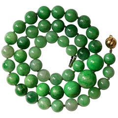 Certified Untreated Jade Necklace in Vivid Translucent Green