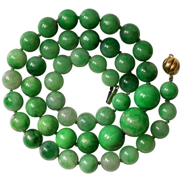 Certified Untreated Jade Necklace in Vivid Translucent Green For Sale
