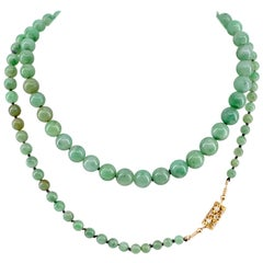 Jade Necklace with Excellent Color & Translucency Untreated with Diamond Clasp
