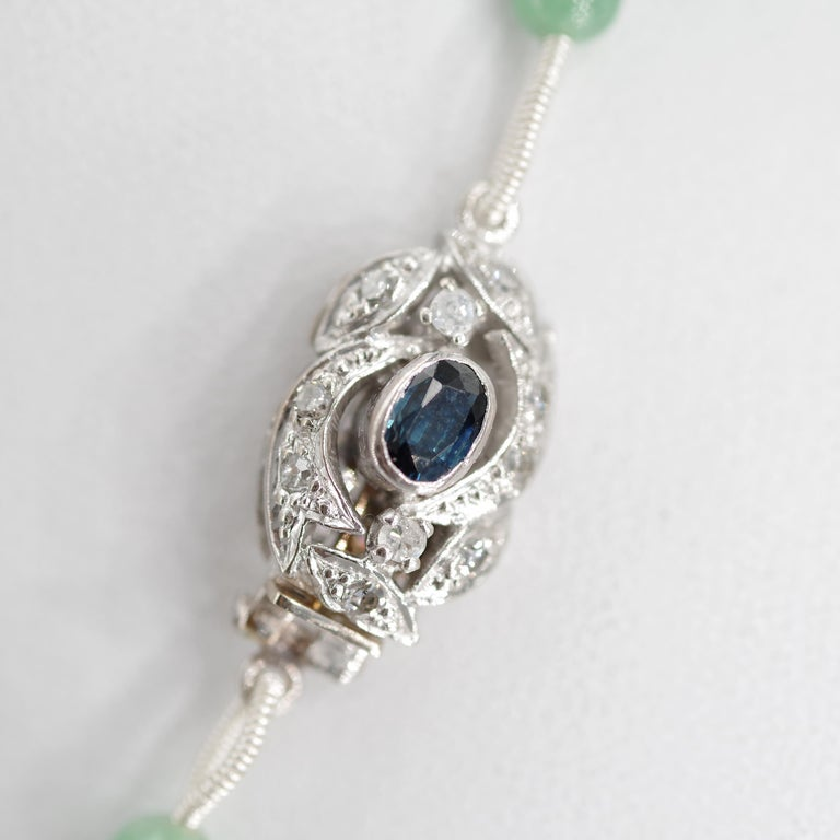 Art Deco Certified Untreated Jade Necklace with Sapphire, Diamond and 18 Karat Gold Clasp For Sale