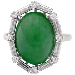 Certified Untreated Jade Ring in Platinum with Diamonds, circa 1920s