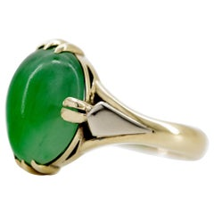 Certified Untreated Jadeite Ring is Japanese Art Deco Masterpiece