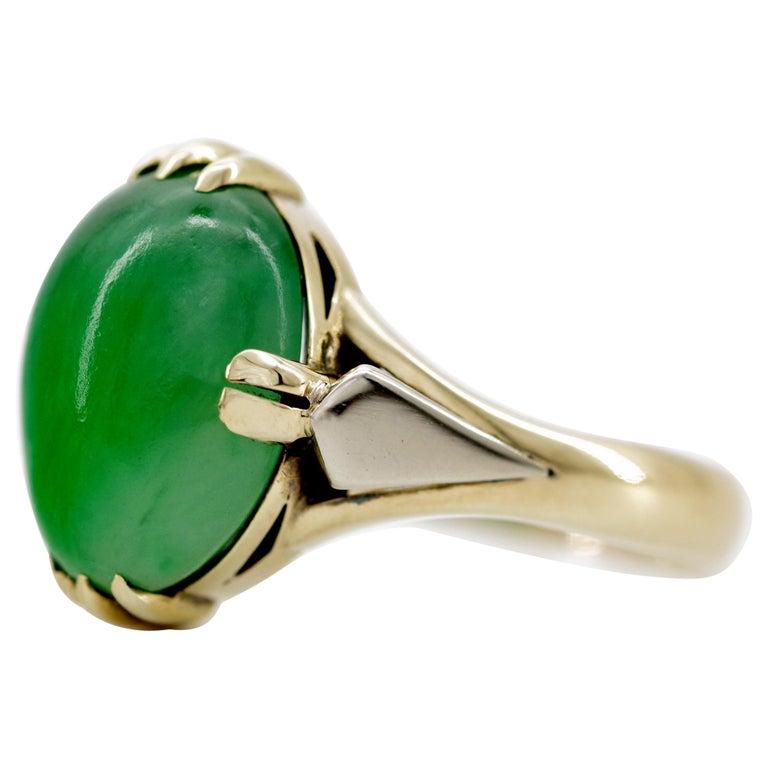 Japanese Art Deco Jade Ring Certified Untreated