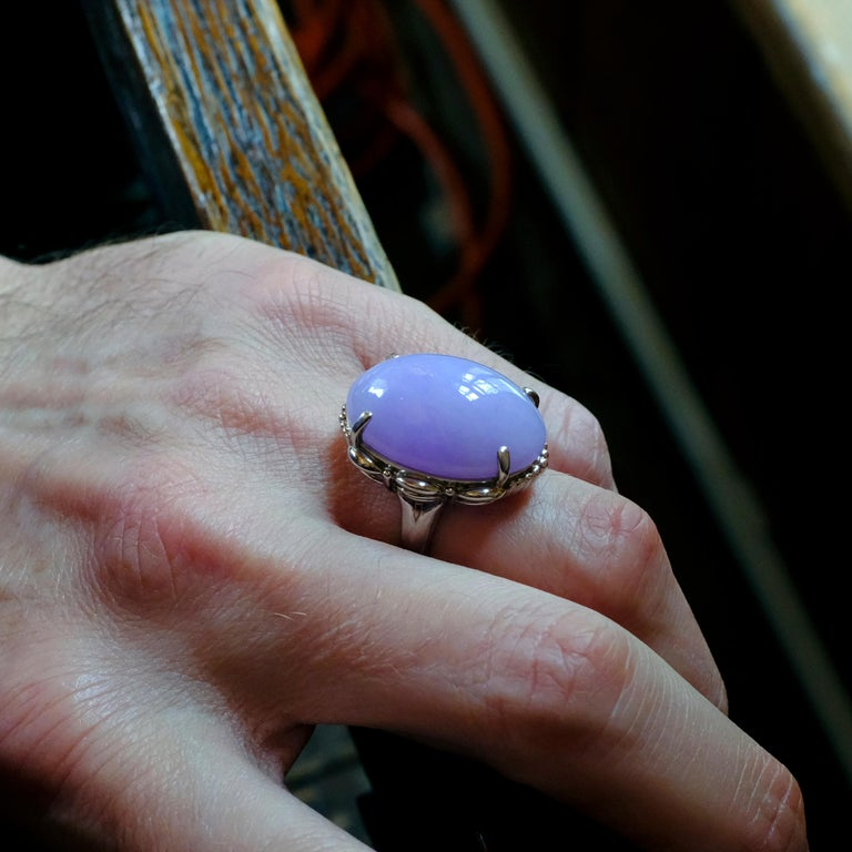 Lavender Jade Ring in Platinum Certified Untreated, Rare For Sale 8