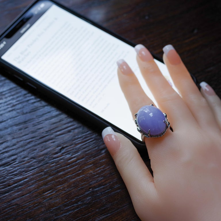 Lavender Jade Ring in Platinum Certified Untreated, Rare For Sale 9
