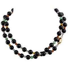 Certified Untreated Multicolor Jade Necklace Midcentury