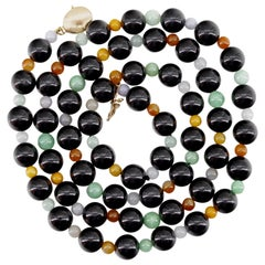 Certified Untreated Multi-Color Jade Necklace Midcentury