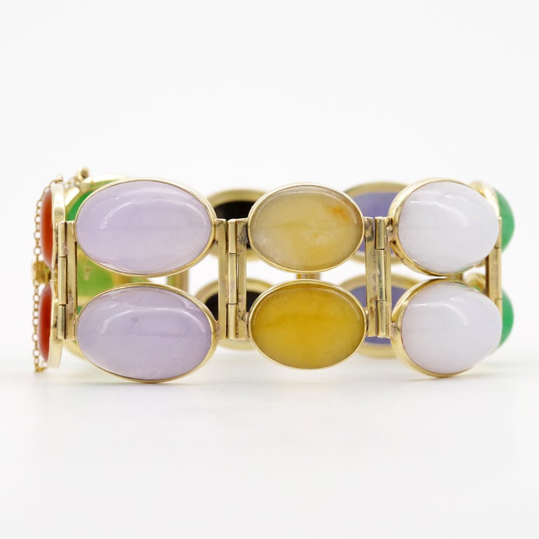 Jade Bracelet Cuff in Lavender, Green, Black, Red, Yellow and White For Sale 6