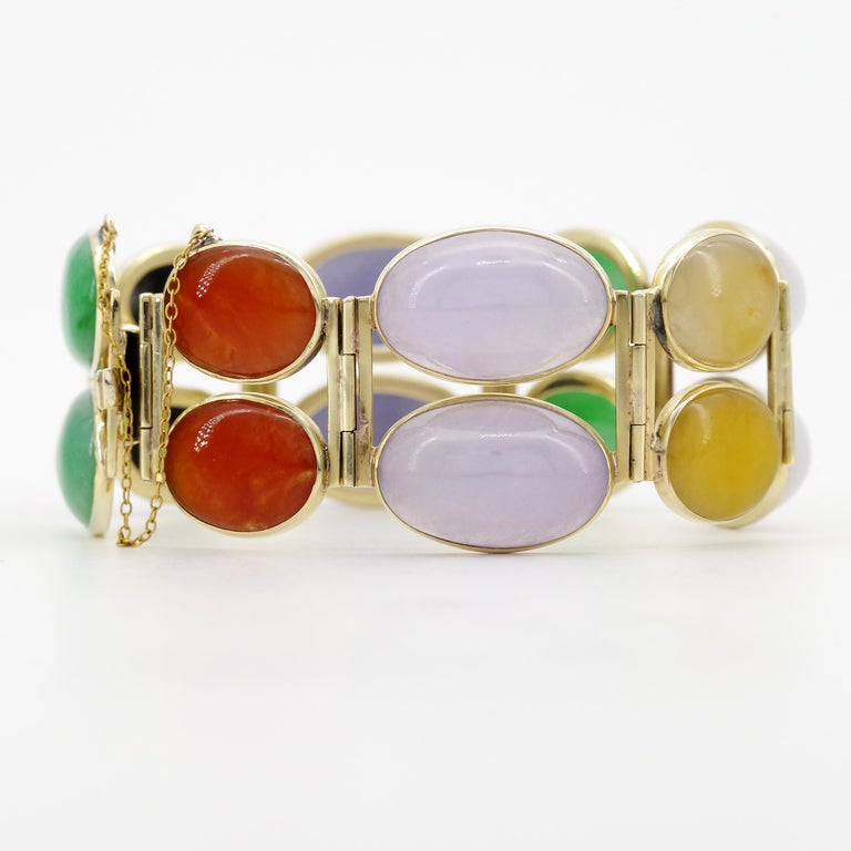 Jade Bracelet Cuff in Lavender, Green, Black, Red, Yellow and White For Sale 7