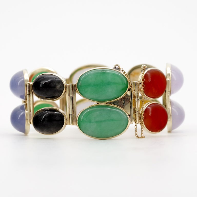 Jade Bracelet Cuff in Lavender, Green, Black, Red, Yellow and White For Sale 8