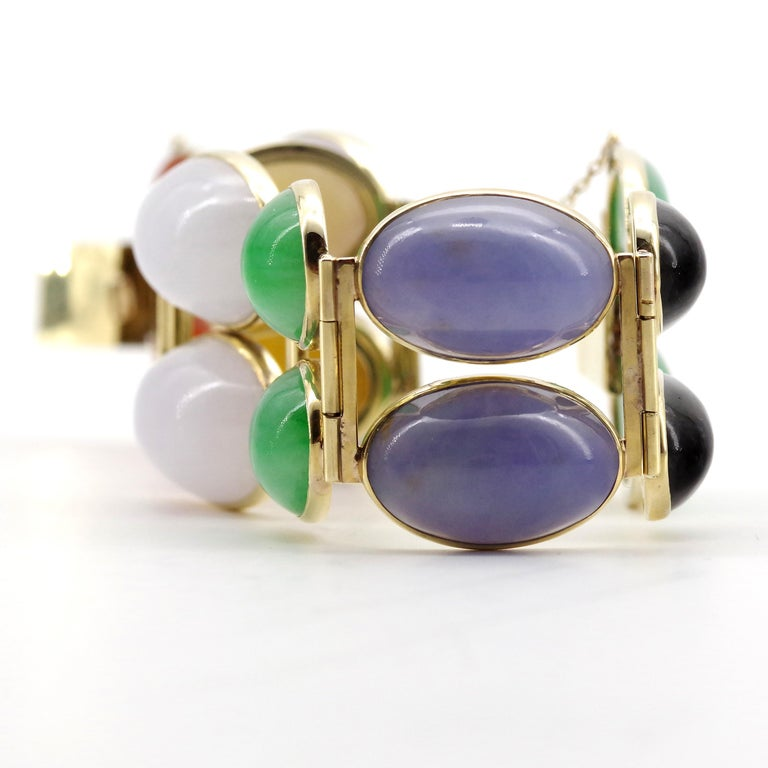 Jade Bracelet Cuff in Lavender, Green, Black, Red, Yellow and White For Sale 9