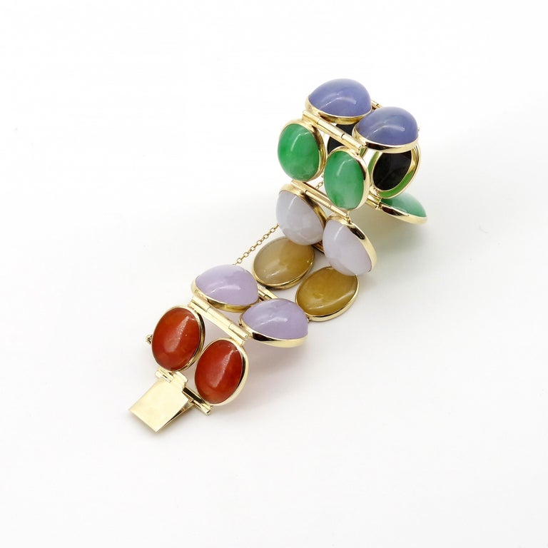 Women's or Men's Jade Bracelet Cuff in Lavender, Green, Black, Red, Yellow and White For Sale